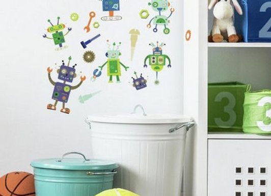 Roommates Robots Peel and Stick Wall Decals