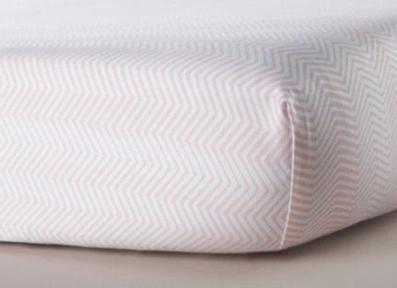Oilo Blush Zig Zag Jersey Crib Sheet