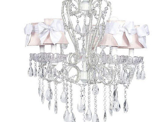 Jubilee 5 Light White Carousel Crystal Chandelier with Pink Silk Shades