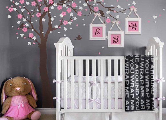 Cherry Blossom Pink and White Tree Wall Decal