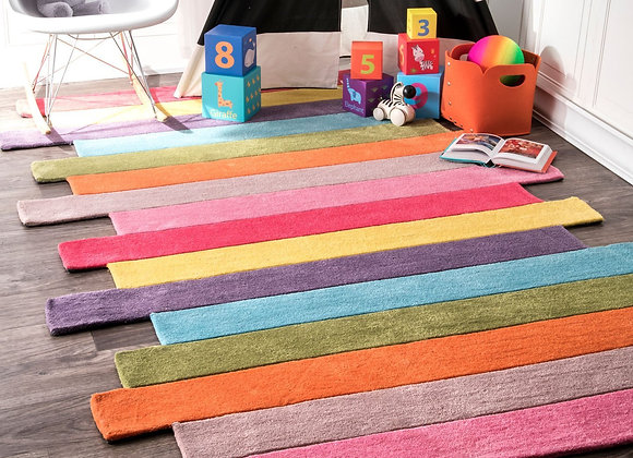 Colorful Multi Stripe Hand TuftedKids Area Rug