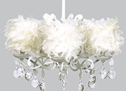 White 5 Arm Crystal Chandelier with White Feather Drum Shades