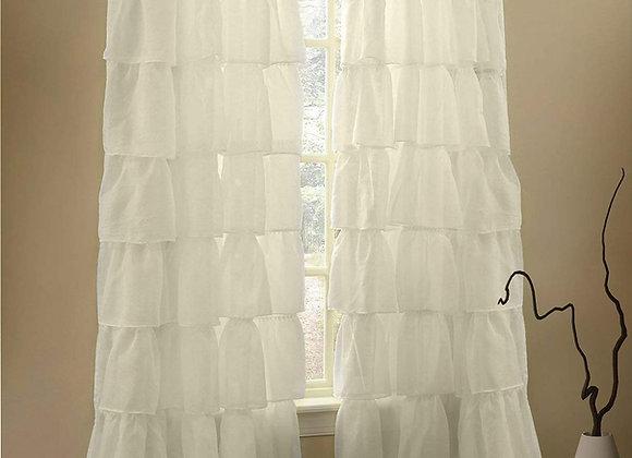 Shabby Chic Cream Ruffle Curtain Panel