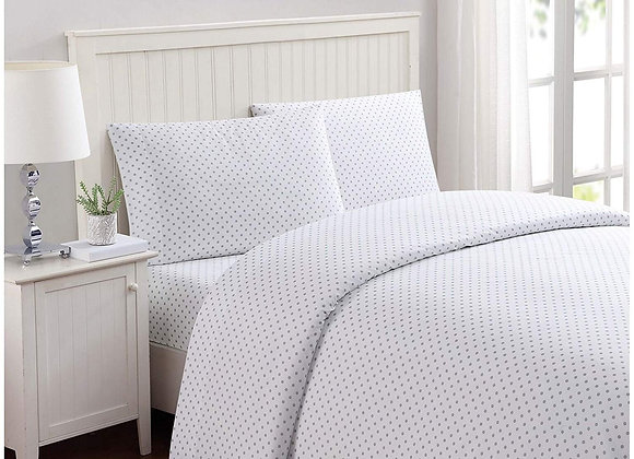 Printed Dot Sheet Set in White and Gray