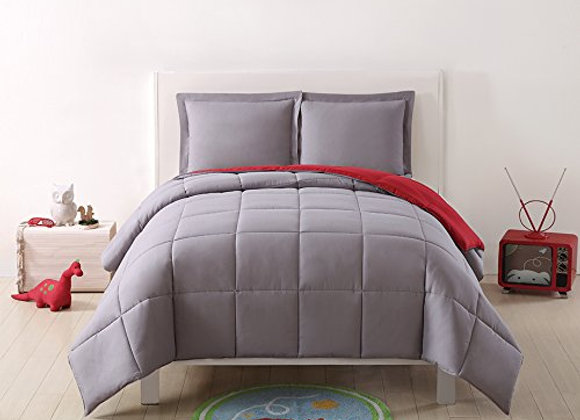 Laura Hart Reversible XL Comforter Sham Set in Gray and Red