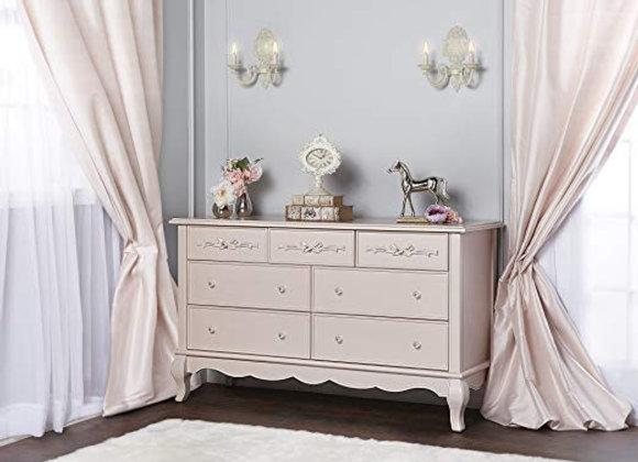 Aurora 7 Drawer Dresser in Blush Pink Pearl