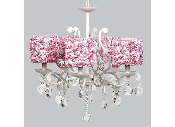 Jubilee 5 Light Elegance Crystal Chandelier With Pink Rose Shades