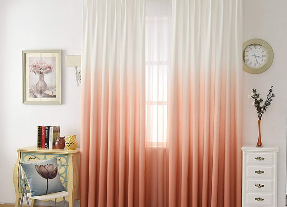 Set of 2 Ombre Peach and White Sheer Window Panels