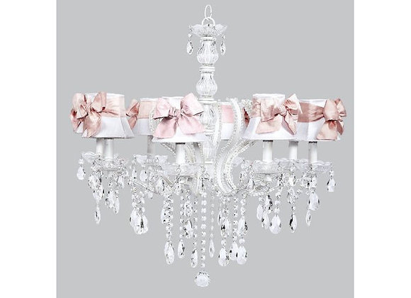 8 Light  Pageant Crystal Chandelier with White and Pink Silk Shades