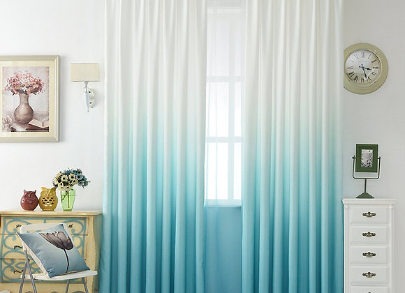 Set of 2 Ombre Aqua Blue and White Sheer Window Panels