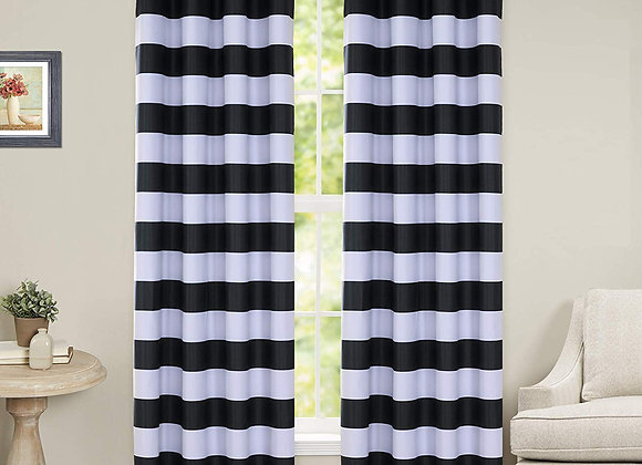 Black and White Striped Blackout Grommet Panels