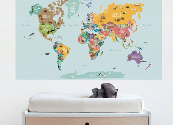 Simple Shapes Countries of The World Map Wall Decals