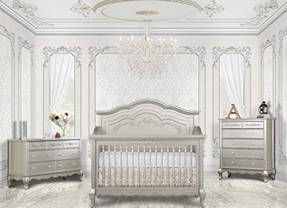 Aurora 5 in 1 Solid Wood Crib in Metallic Gold Dust