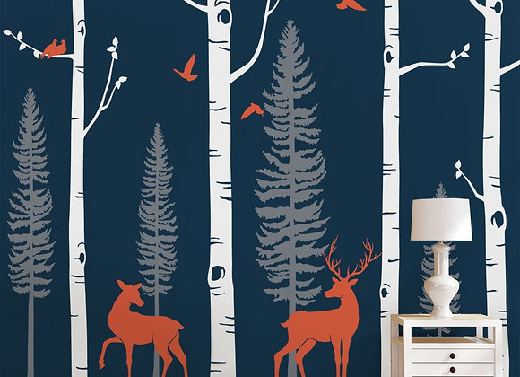 Simple Shapes Birch Trees with Deer and Birds Wall Decals