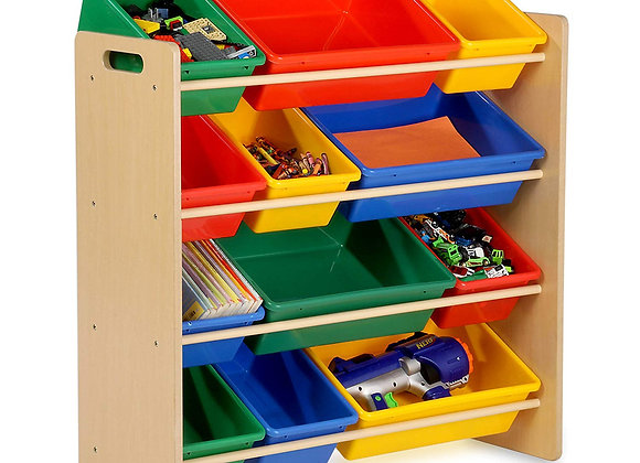 12 Bin Toy Storage Organizer Primary Colors