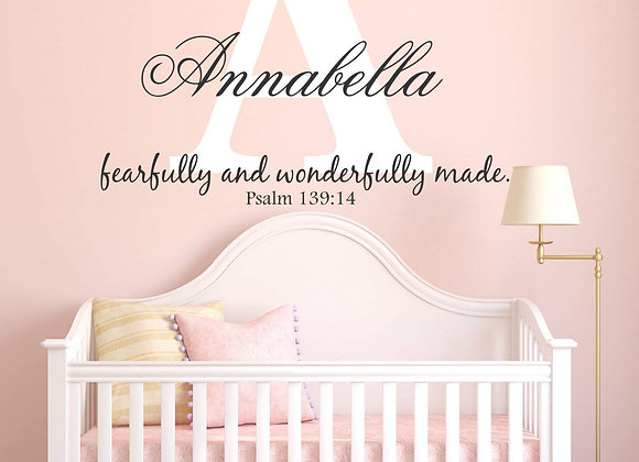 Custom Name Psalm 139:14 Fearfully and Wonderfully Made Wall Decal