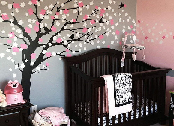 Elegant Style Cherry Blossom Tree Wall Decal in Black White and Pink
