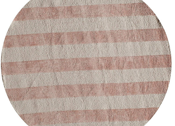 Cotton Handhooked Pink and White Striped Area Rug