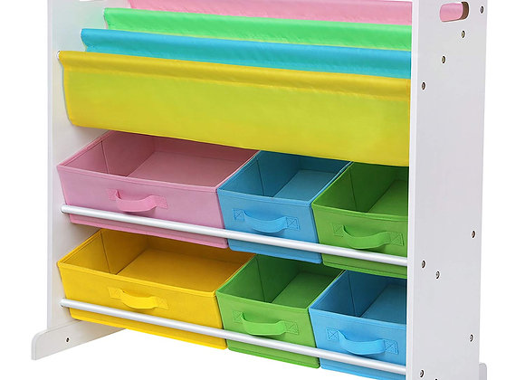 Dual Book and Toy White Storage Unit