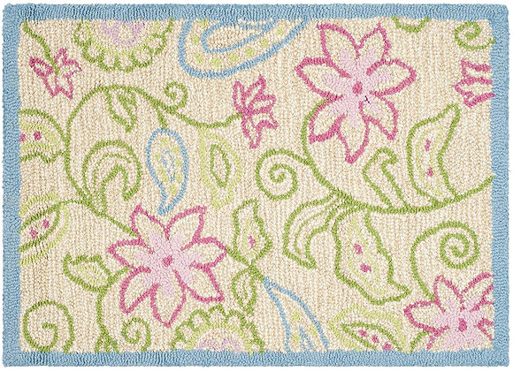 Safavieh Kids Blue and Pink Floral Wool Area Rug