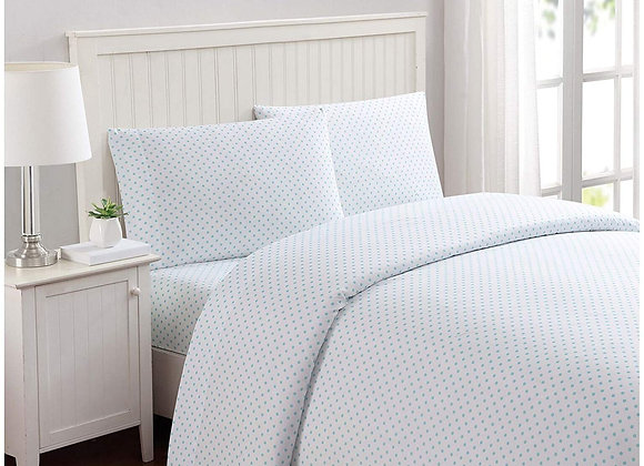 Printed Dot Sheet Set in White and Blue