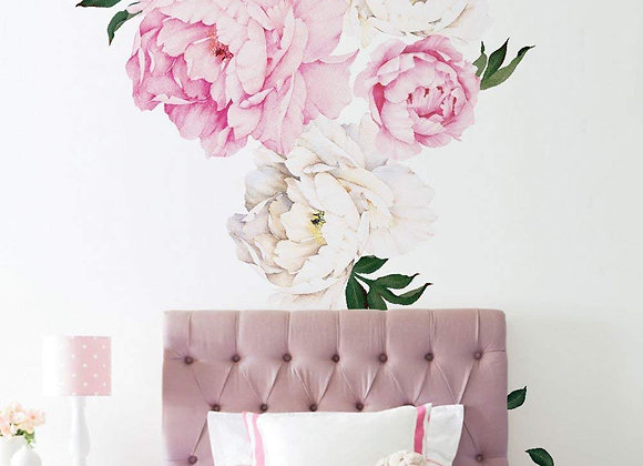 Set of 6 Giant Vivid Pink Peony Wall Decals