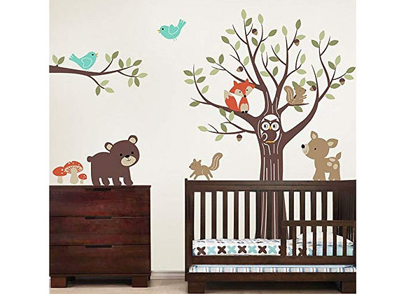 Simple Shapes Tree With Forest Friends Wall Decals