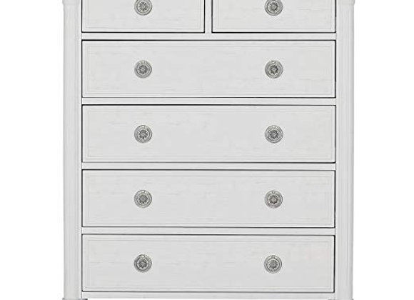 Julienne 6 Drawer Chest Dresser in Toffee and Brushed White