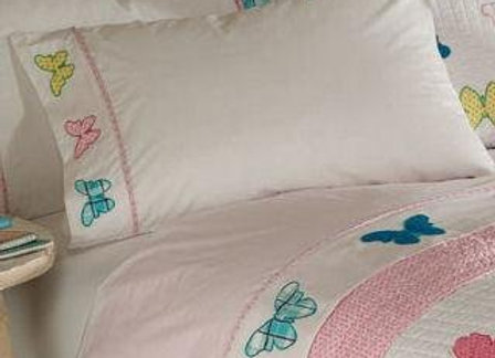 Plaid Butterfly Embroidered Sheet Set