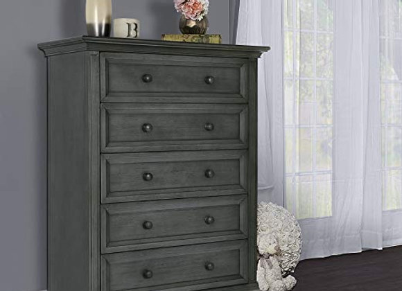 Napoli Tall Chest Dresser in Distressed Slate Gray