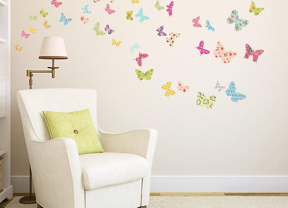 Patterned Butterfly Set of 30 Peel and Stick Wall Decals