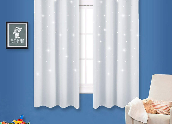Set of 2 White Grommet Drapes with Laser Cut Stars