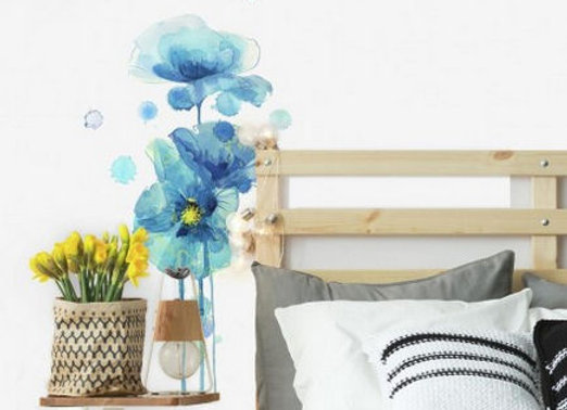 Roommates Blue Poppies Peel and Stick Wall Decals