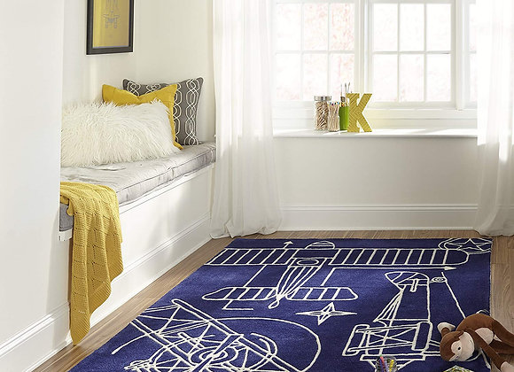 Hand Carved and Tufted Navy Blue Airplane Area Rug