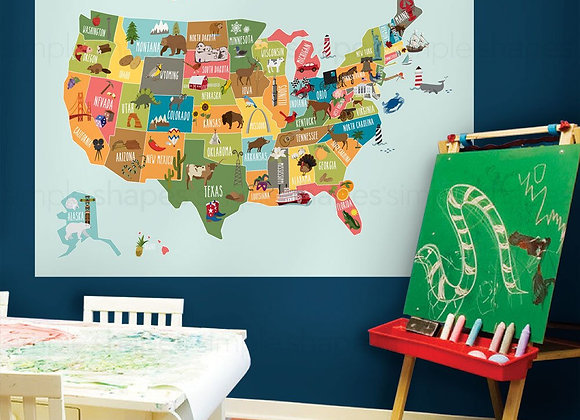 Simple Shapes USA Map Wall Decals