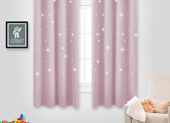 Set of 2 Baby Pink Grommet Drapes with Laser Cut Stars