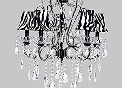 Jubilee 5 Light Carousel Crystal Chandelier With Black and White Zebra Shades