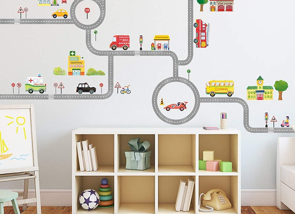 Cars and Road Wall Decals