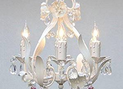 White Iron Flower Chandelier with Pink Crystal Hearts