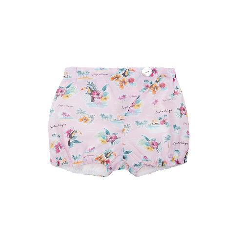 Pantalón botón tropical rosa
