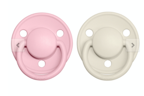 Dos chupetes BIBS DELUX ivory/baby pink
