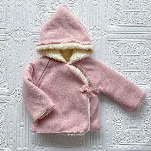 Abrigo punto y borrego rosa