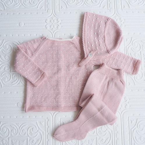 Conjunto polaina, jersey y capota topitos rosa