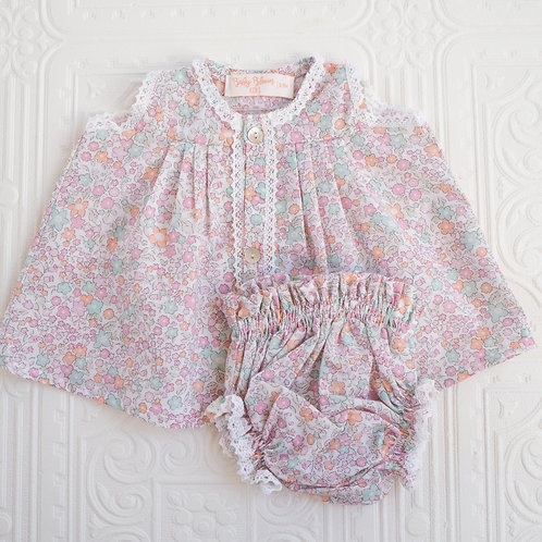 Conjunto Bou mini flor pastel rosa