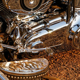 Play of reflections on Harley Davidson