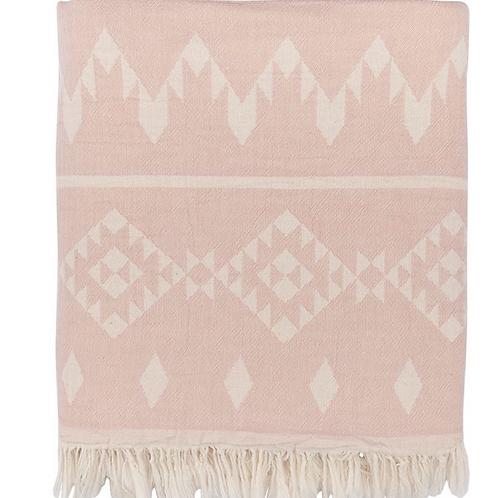 Colcha tribal rosa palo