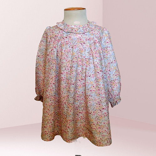 Vestido Rubí mini flor ciruela