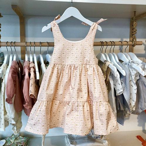 Vestido Provenza geo rosa y dorado