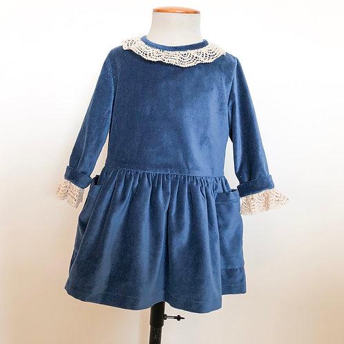 Vestido Nora terciopelo azuló