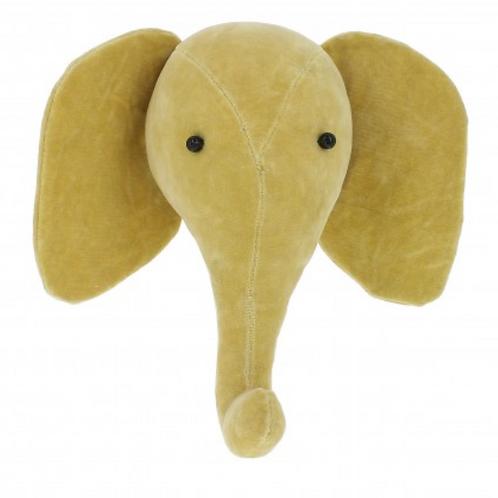Cabeza elefante terciopelo mostaza